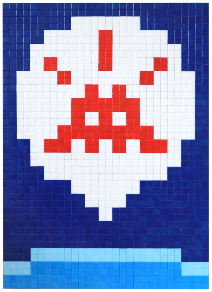 Invader  &nbsp -  <strong>Alias MIA_64</strong> (2012<strong style = 'color:#635a27'></strong>)<bR /> ceramic tiles on panel,   23.625 x 32.875 inches  (60 x 83.5 cm)