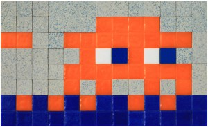 Invader   -  <strong>Alias MIA_65</strong> (2012<strong style = 'color:#635a27'></strong>)<bR /> ceramic tiles on panel,   6.25 x 10.25 inches  (16 x 26 cm)