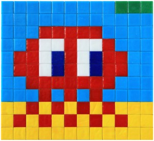 Invader    -  <strong>Alias MIA_66</strong> (2012<strong style = 'color:#635a27'></strong>)<bR /> ceramic tiles on panel,   8.625 x 9.5 inches  (22 x 24 cm)