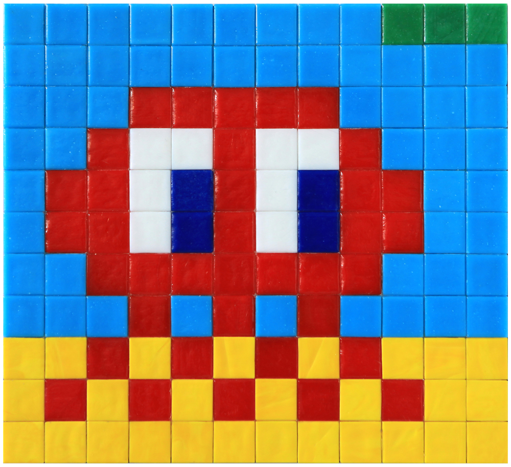 Invader  &nbsp -  <strong>Alias MIA_66</strong> (2012<strong style = 'color:#635a27'></strong>)<bR /> ceramic tiles on panel,   8.625 x 9.5 inches  (22 x 24 cm)