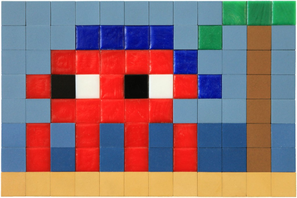 Invader  &nbsp -  <strong>Alias MIA_67</strong> (2012<strong style = 'color:#635a27'></strong>)<bR /> ceramic tiles on panel,   6.25 x 9.5 inches  (16 x 24 cm)