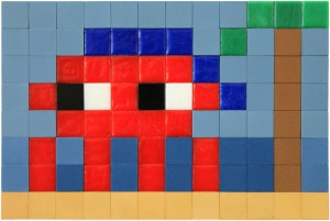 Invader    -  <strong>Alias MIA_67</strong> (2012<strong style = 'color:#635a27'></strong>)<bR /> ceramic tiles on panel,   6.25 x 9.5 inches  (16 x 24 cm)