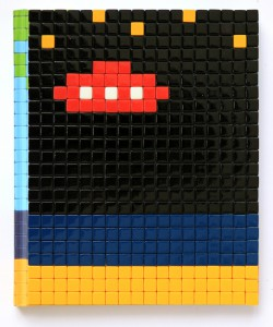 Invader    -  <strong>Mission Miami Mosaic Cover 1</strong> (2012<strong style = 'color:#635a27'></strong>)<bR /> 414 micro mosaic tiles on hardcover book in custom plexiglass case,   9.25 x 7.625 inches  (23.5 x 19.37 cm)