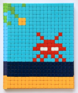 Invader   -  <strong>Mission Miami Mosaic Cover 10</strong> (2012<strong style = 'color:#635a27'></strong>)<bR /> 414 micro mosaic tiles on hardcover book in custom plexiglass case,   9.25 x 7.625 inches  (23.5 x 19.37 cm)