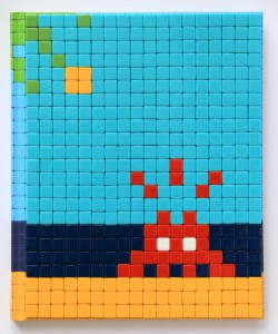 Invader    -  <strong>Mission Miami Mosaic Cover 11</strong> (2012<strong style = 'color:#635a27'></strong>)<bR /> 414 micro mosaic tiles on hardcover book in custom plexiglass case,   9.25 x 7.625 inches  (23.5 x 19.37 cm)