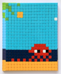 Invader    -  <strong>Mission Miami Mosaic Cover 13</strong> (2012<strong style = 'color:#635a27'></strong>)<bR /> 414 micro mosaic tiles on hardcover book in custom plexiglass case,   9.25 x 7.625 inches  (23.5 x 19.37 cm)