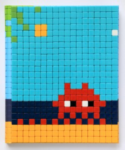 Invader    -  <strong>Mission Miami Mosaic Cover 14</strong> (2012<strong style = 'color:#635a27'></strong>)<bR /> 414 micro mosaic tiles on hardcover book in custom plexiglass case,   9.25 x 7.625 inches  (23.5 x 19.37 cm)