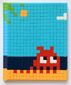 Invader    -  <strong>Mission Miami Mosaic Cover 16</strong> (2012<strong style = 'color:#635a27'></strong>)<bR /> 414 micro mosaic tiles on hardcover book in custom plexiglass case,   9.25 x 7.625 inches  (23.5 x 19.37 cm)