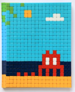 Invader    -  <strong>Mission Miami Mosaic Cover 19</strong> (2012<strong style = 'color:#635a27'></strong>)<bR /> 414 micro mosaic tiles on hardcover book in custom plexiglass case,   9.25 x 7.625 inches  (23.5 x 19.37 cm)