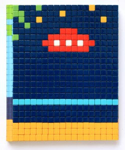 Invader    -  <strong>Mission Miami Mosaic Cover 2</strong> (2012<strong style = 'color:#635a27'></strong>)<bR /> 414 micro mosaic tiles on hardcover book in custom plexiglass case,   9.25 x 7.625 inches  (23.5 x 19.37 cm)