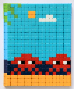 Invader   -  <strong>Mission Miami Mosaic Cover 21</strong> (2012<strong style = 'color:#635a27'></strong>)<bR /> 414 micro mosaic tiles on hardcover book in custom plexiglass case,   9.25 x 7.625 inches  (23.5 x 19.37 cm)
