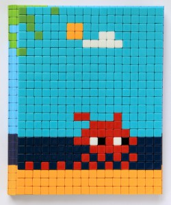 Invader    -  <strong>Mission Miami Mosaic Cover 22</strong> (2012<strong style = 'color:#635a27'></strong>)<bR /> 414 micro mosaic tiles on hardcover book in custom plexiglass case,   9.25 x 7.625 inches  (23.5 x 19.37 cm)