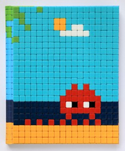 Invader    -  <strong>Mission Miami Mosaic Cover 23</strong> (2012<strong style = 'color:#635a27'></strong>)<bR /> 414 micro mosaic tiles on hardcover book in custom plexiglass case,   9.25 x 7.625 inches  (23.5 x 19.37 cm)