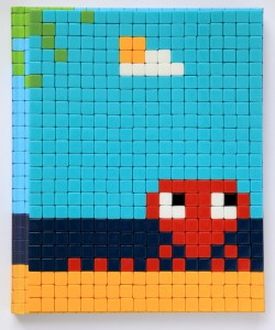 Invader    -  <strong>Mission Miami Mosaic Cover 24</strong> (2012<strong style = 'color:#635a27'></strong>)<bR /> 414 micro mosaic tiles on hardcover book in custom plexiglass case,   9.25 x 7.625 inches  (23.5 x 19.37 cm)
