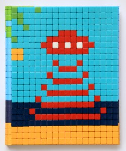 Invader    -  <strong>Mission Miami Mosaic Cover 4</strong> (2012<strong style = 'color:#635a27'></strong>)<bR /> 414 micro mosaic tiles on hardcover book in custom plexiglass case,   9.25 x 7.625 inches  (23.5 x 19.37 cm)