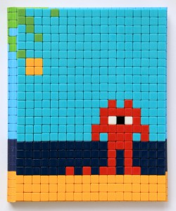 Invader    -  <strong>Mission Miami Mosaic Cover 6</strong> (2012<strong style = 'color:#635a27'></strong>)<bR /> 414 micro mosaic tiles on hardcover book in custom plexiglass case,   9.25 x 7.625 inches  (23.5 x 19.37 cm)