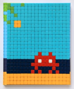 Invader    -  <strong>Mission Miami Mosaic Cover 7</strong> (2012<strong style = 'color:#635a27'></strong>)<bR /> 414 micro mosaic tiles on hardcover book in custom plexiglass case,   9.25 x 7.625 inches  (23.5 x 19.37 cm)