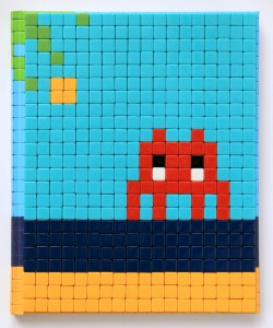 Invader    -  <strong>Mission Miami Mosaic Cover 8</strong> (2012<strong style = 'color:#635a27'></strong>)<bR /> 414 micro mosaic tiles on hardcover book in custom plexiglass case,   9.25 x 7.625 inches  (23.5 x 19.37 cm)