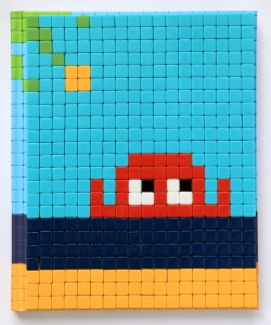 Invader    -  <strong>Mission Miami Mosaic Cover 9</strong> (2012<strong style = 'color:#635a27'></strong>)<bR /> 414 micro mosaic tiles on hardcover book in custom plexiglass case,   9.25 x 7.625 inches  (23.5 x 19.37 cm)