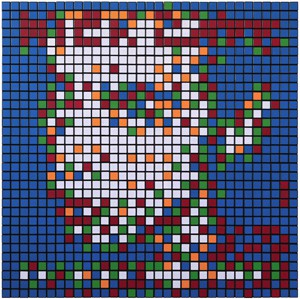 Invader  &nbsp -  <strong>Rubik From Her to Eternity (Nick Cave)</strong> (2010<strong style = 'color:#635a27'></strong>)<bR /> 400 Rubik's cubes on perspex panel,   24.375 x 24.375 inches  (62 x 62 cm)