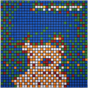 Invader  &nbsp -  <strong>Rubik Nina Hagen Band</strong> (2010<strong style = 'color:#635a27'></strong>)<bR /> 400 Rubik's cubes on perspex panel,   24.375 x 24.375 inches  (62 x 62 cm)