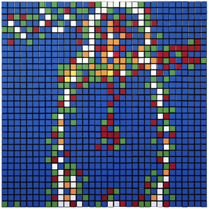 Invader  &nbsp -  <strong>Rubik Power Age (AC/DC)</strong> (2010<strong style = 'color:#635a27'></strong>)<bR /> 400 Rubik's cubes on perspex panel,   24.375 x 24.375 inches  (62 x 62 cm)