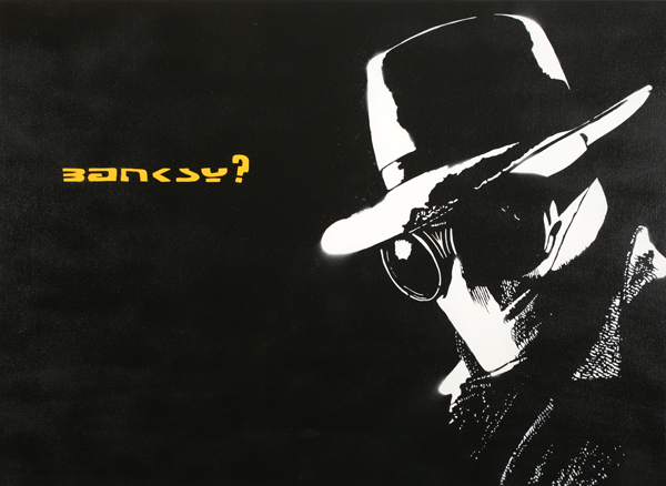 Blek le Rat  &nbsp -  <strong>The Invisible Man</strong> (2008<strong style = 'color:#635a27'></strong>)<bR /> Spraypaint on Canvas,   Edition 1 of 2,   28 x 30 inches