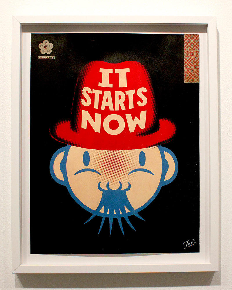Gary Taxali -  <strong>It Starts Now</strong> (2015<strong style = 'color:#635a27'></strong>)<bR />  mixed media on paper,   15 x 19.5 inches  (38.1 x 49.53 cm)