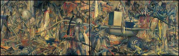 James  Jean -  <strong>Hunting Party</strong> (2009<strong style = 'color:#635a27'></strong>)<bR /> acrylic, oil, pastel and wax on canvas,   60 x 192 inches ,   (2 panels measuring 60 x 96 inches each)