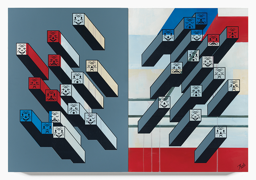 Gary Taxali -  <strong>30 Reasons</strong> (2015<strong style = 'color:#635a27'></strong>)<bR />  mixed media on baltic birch panels,   44 x 30 inches  (each panel is 22 x 30 inches)  (111.76 x 76.2 cm)