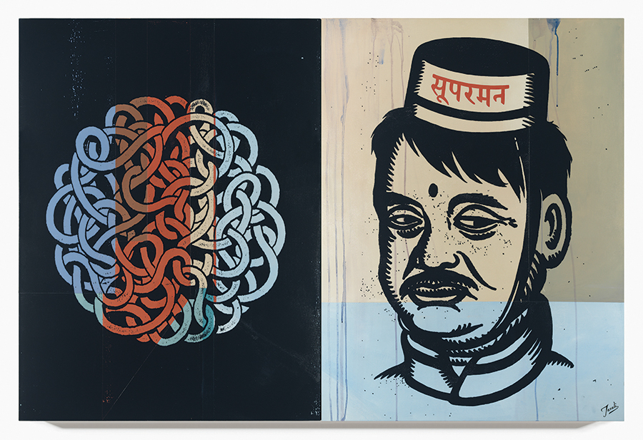 Gary Taxali -  <strong>Bellhop</strong> (2015<strong style = 'color:#635a27'></strong>)<bR />  mixed media on baltic birch panels,   60 x 40 inches  (each panel is 30 x 40 inches)  (152.4 x 101.6 cm)