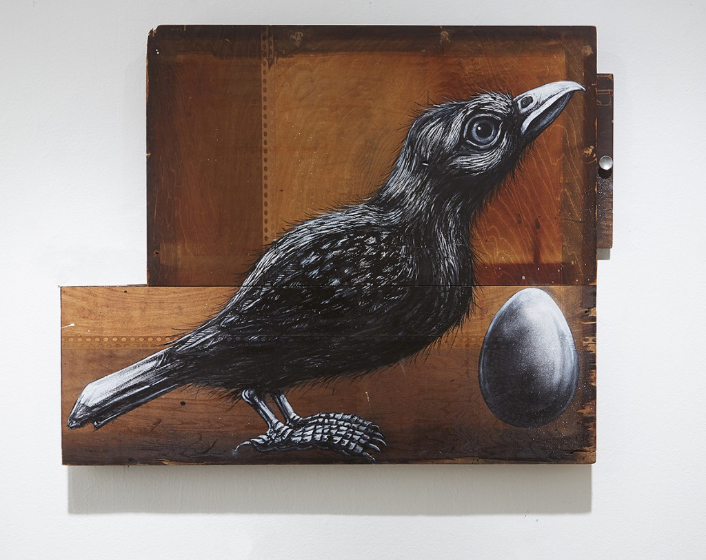 Roa      -  <strong>Sturnus Vulgaris</strong> (2015<strong style = 'color:#635a27'></strong>)<bR /> mixed media,   33.25 x 42 x 3.25 inches  84.46 x 106.68 x 8.26 cm)