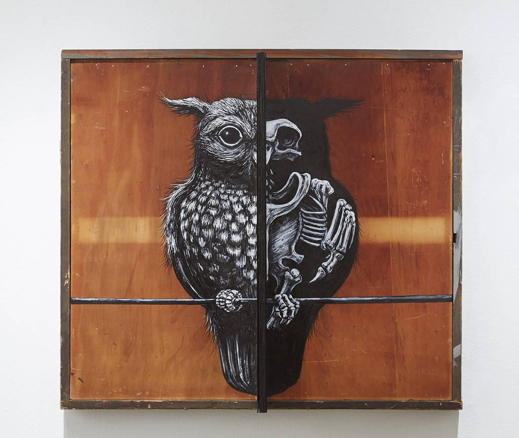 Roa      -  <strong>Strigiformes</strong> (2015<strong style = 'color:#635a27'></strong>)<bR /> mixed media,   30 1/2 x 34 x 11 inches  (77.47 x 86.36 x 27.94 cm)