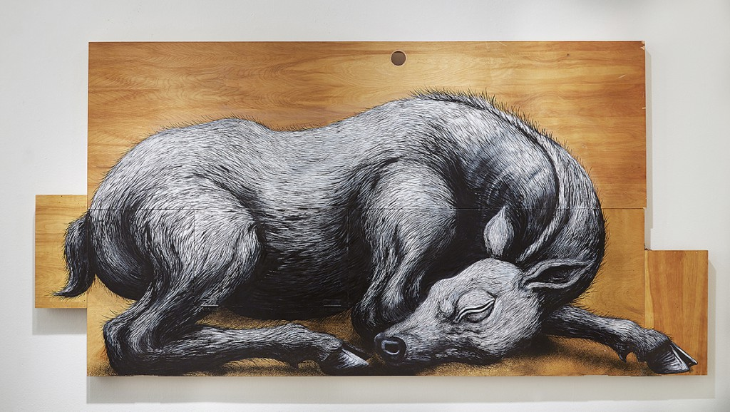 Roa      -  <strong>Cervidae Tableau Dormant</strong> (2015<strong style = 'color:#635a27'></strong>)<bR /> mixed media,   48 x 96.25 x 2 inches  (121.92 x 244.48 x 5.08 cm)
