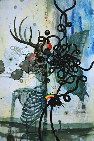 Jeff  Soto -  <strong>Lifecycle</strong> (2008<strong style = 'color:#635a27'></strong>)<bR /> acrylic on wood,   36 x 24 inches