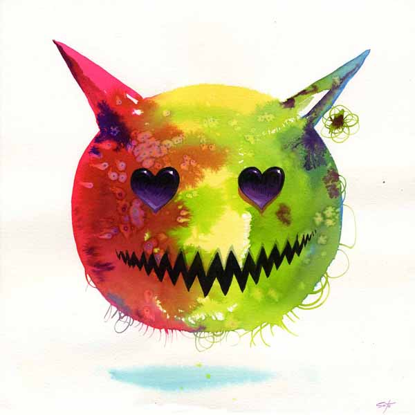 Jeff  Soto -  <strong>Love</strong> (2009<strong style = 'color:#635a27'></strong>)<bR /> watercolor, ink and acrylic on paper,   10 x 10 inches