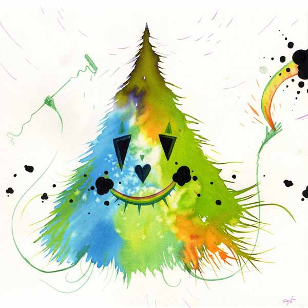 Jeff  Soto -  <strong>Rainbow</strong> (2009<strong style = 'color:#635a27'></strong>)<bR /> watercolor, ink and acrylic on paper,   10 x 10 inches