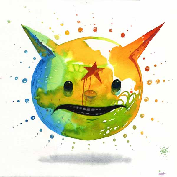 Jeff  Soto -  <strong>Starfall</strong> (2009<strong style = 'color:#635a27'></strong>)<bR /> watercolor, ink and acrylic on paper,   10 x 10 inches