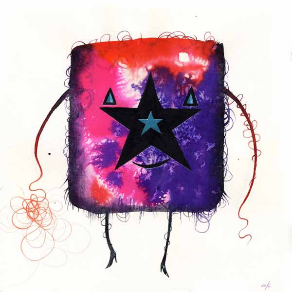 Jeff  Soto -  <strong>Star Heels</strong> (2009<strong style = 'color:#635a27'></strong>)<bR /> watercolor, ink and acrylic on paper,   10 x 10 inches