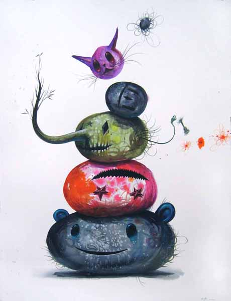 Jeff  Soto -  <strong>Rock Pile II</strong> (2009<strong style = 'color:#635a27'></strong>)<bR /> watercolor on paper,   30 x 23 inches