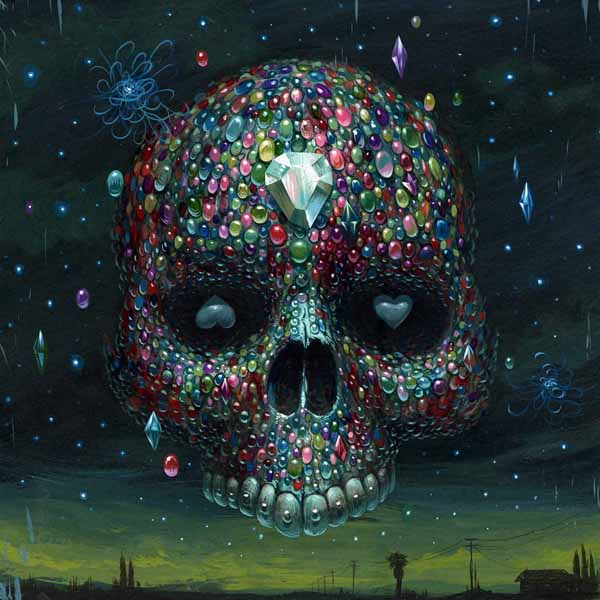 Jeff  Soto -  <strong>Gemskull</strong> (2009<strong style = 'color:#635a27'></strong>)<bR /> acrylic on wood,   12 x 12 inches