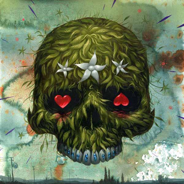 Jeff  Soto -  <strong>Lifeskull</strong> (2009<strong style = 'color:#635a27'></strong>)<bR /> acrylic on wood,   12 x 12 inches