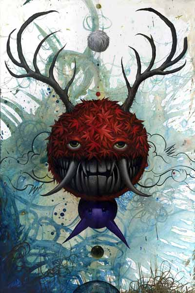 Jeff  Soto -  <strong>Nature's Wrath II</strong> (2009<strong style = 'color:#635a27'></strong>)<bR /> acrylic on wood,   36 x 24 inches