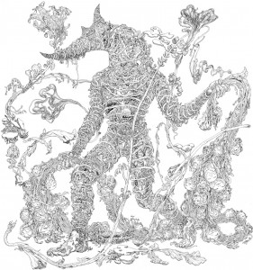 James  Jean -  <strong>The Horn</strong> (2012<strong style = 'color:#635a27'></strong>)<bR /> ink on printmaking paper,   39 x 27 inches  (99.06 x 68.58 cm)