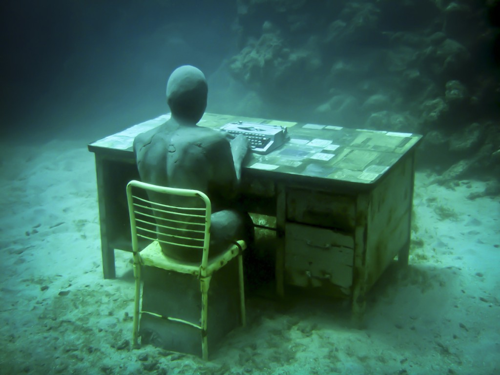 Jason  deCaires Taylor -  <strong>The Lost Correspondent (1)</strong> (2011<strong style = 'color:#635a27'></strong>)<bR /> digital C print,   20 x 30 inches  (50.8 x 76.2 cm)