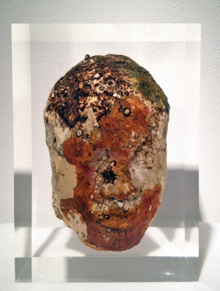 Jason  deCaires Taylor -  <strong>Head 2</strong> (2012<strong style = 'color:#635a27'></strong>)<bR /> cement and resin,   11 x 8 x 5 inches  (27.94 x 20.32 x 12.7 cm)