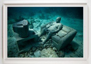 Jason  deCaires Taylor -  <strong>Inertia</strong> (2012<strong style = 'color:#635a27'></strong>)<bR /> digital C print,   30 x 45 inches  (76.2 x 114.3 cm)  39 x 52 x 1.5 inches, framed,   Edition of 5