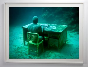 Jason  deCaires Taylor -  <strong>Lost Correspondent</strong> (2012<strong style = 'color:#635a27'></strong>)<bR /> digital C print,   33 x 45 inches  (76.2 x 114.3 cm)  40 x 52 x 1.5 inches, framed,   Edition of 5