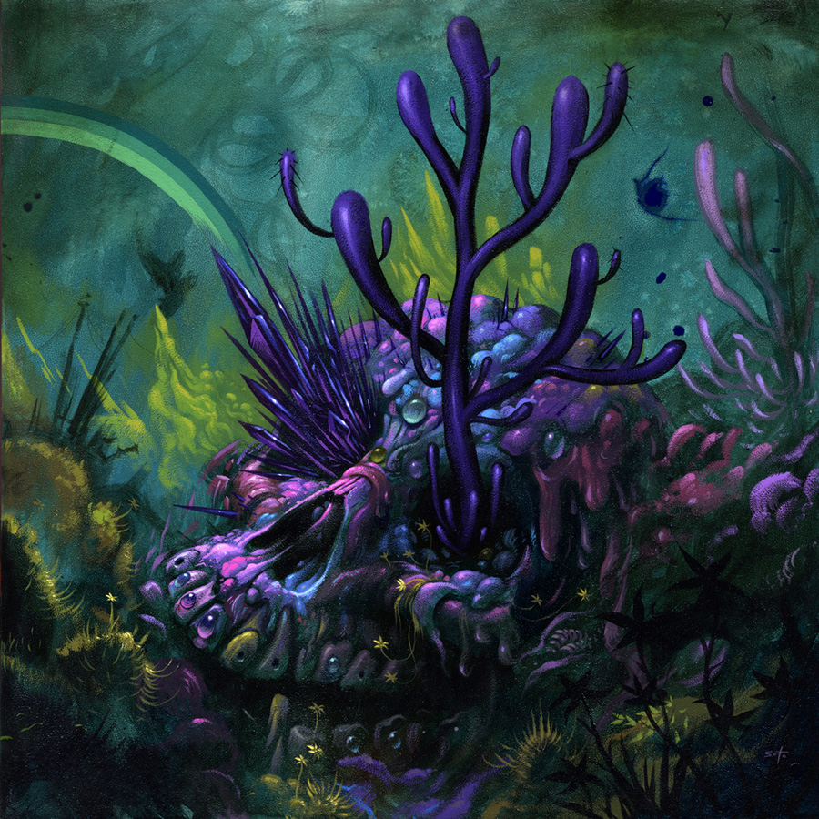 Jeff  Soto -  <strong>Jeff - Decay and Overgrowth</strong> (2012<strong style = 'color:#635a27'></strong>)<bR /> acrylic on wood panel,   18 x 18 inches  45.72 x 45.72 cm
