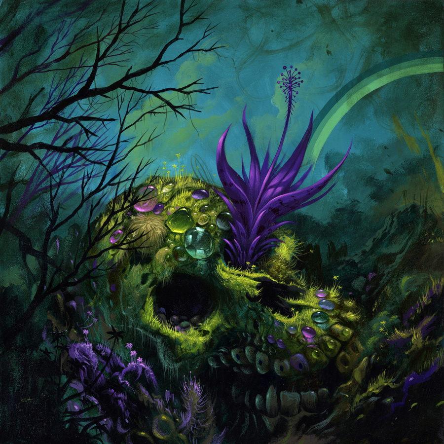 Jeff  Soto -  <strong>Jennifer - Decay and Overgrowth</strong> (2012<strong style = 'color:#635a27'></strong>)<bR /> acrylic on wood panel,   18 x 18 inches  45.72 x 45.72 cm